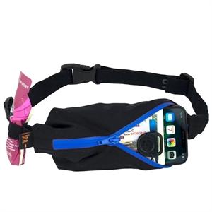 Picture of SPIbelt Water Resistant Pocket with 4 Gel Loops - Black with Blue Zip