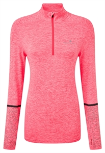 Picture of Ron Hill Ladies Life Night Runner 1/2 Zip Tee - Hot Pink Marl